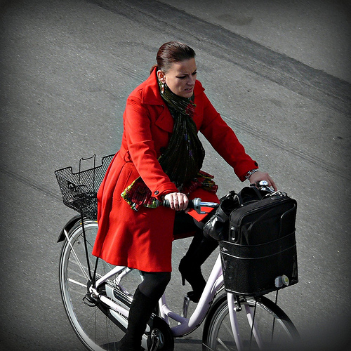 businesswoman biking