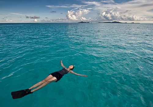 Floating in the Tobago Cays
