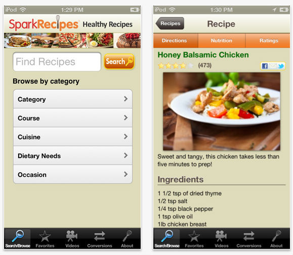 SparkPeople Healthy Recipes iPhone App Screenshot