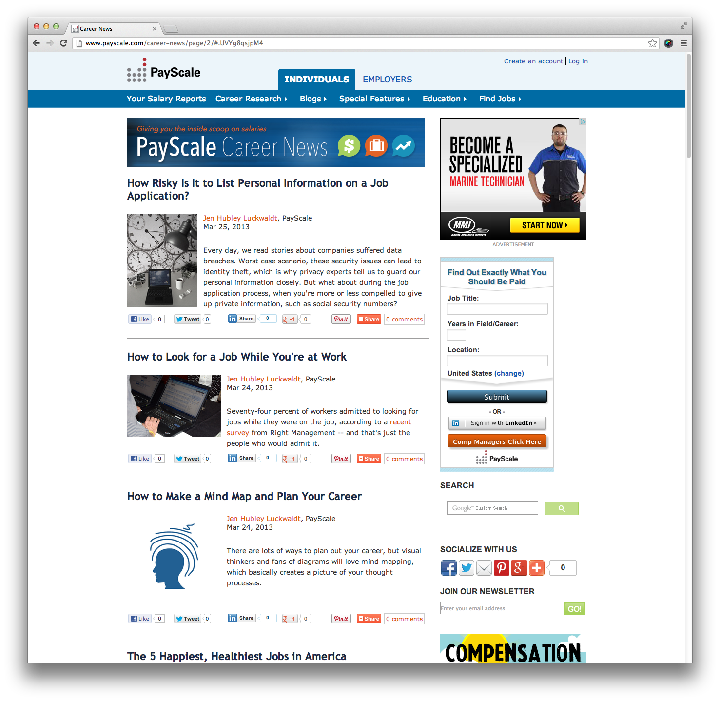 PayScale Career News Screenshot