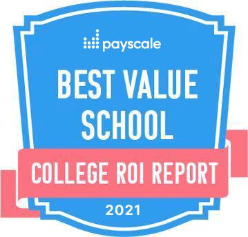 Payscale College ROI 2021最佳价值学校徽章