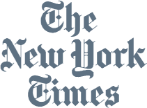 The New York Times logo in monochrome
